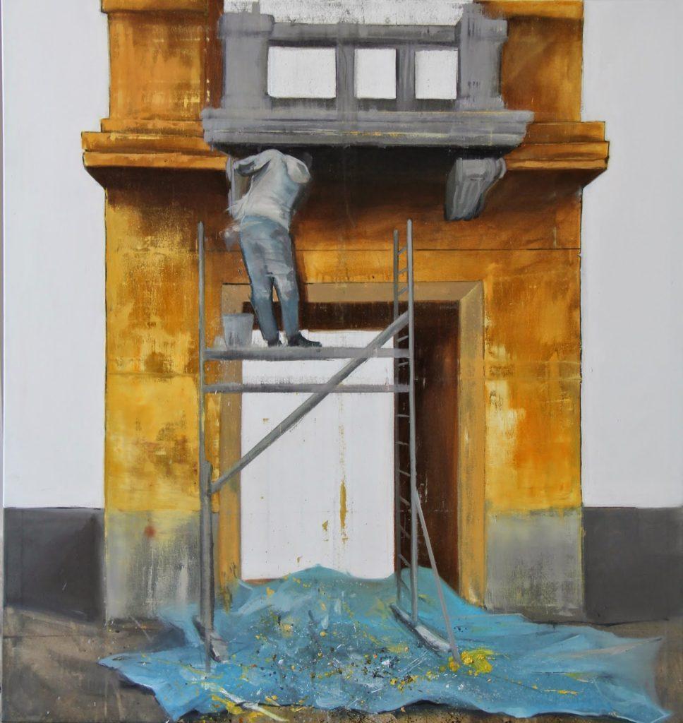 Scénograf, 150x160 cm, akryl a olej na plátně, 62 500 Kč