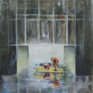 Zoltán Agócs, Pasáž, 150x150cm, akryl a olej na plátně, 63 000 Kč