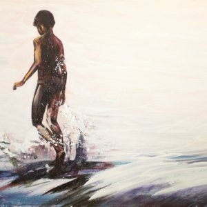 Boy on the weir, 80x100 cm, acrylic on canvas, 19 000 CZK (without VAT)