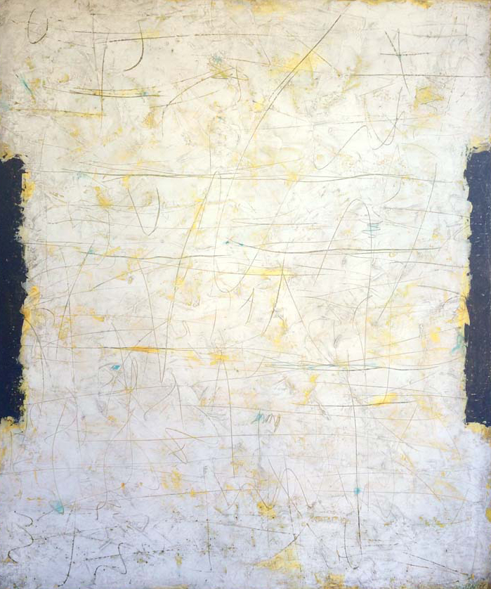 Yellow, white, black, 120x100 cm, acrylic on canvas, 62 000 CZK (without VAT)