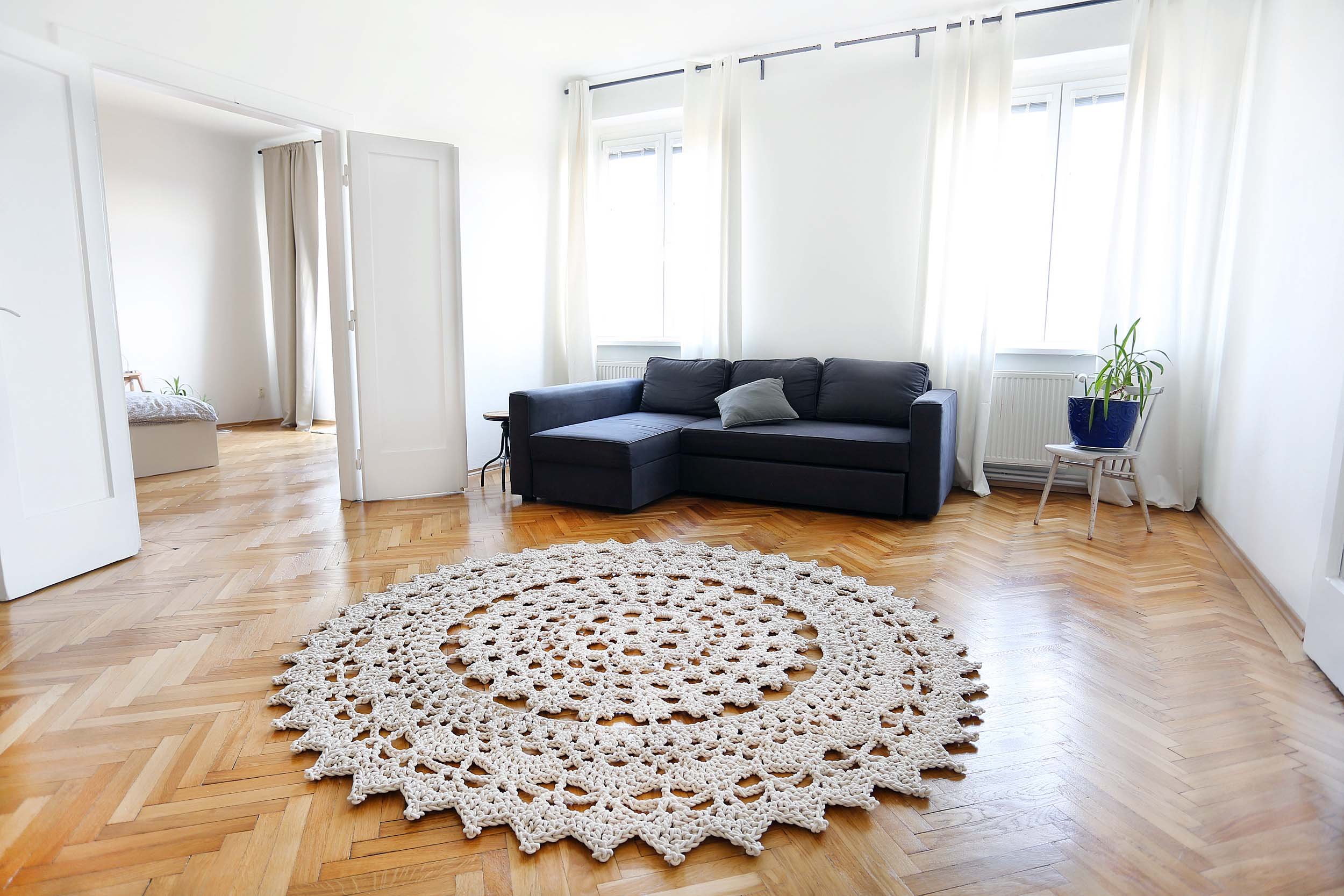 koberec Päike, průměr 2,3 m, 100% bavlna